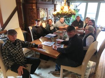 Here is the Wine and Beer Showcase meeting in March of 2018. Jim and Jeannie Lalumondiere are excellent hosts at their gorgeous home, The Lalumondiere Mill and Rivergardens!